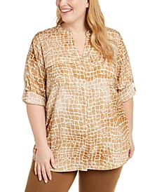 Plus Size Printed Roll Sleeve Shirt