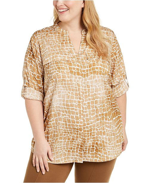 Calvin Klein Plus Size Printed Roll-Sleeve Button-Down Blouse