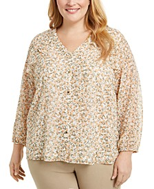 Plus Size Printed Button-Down Blouse