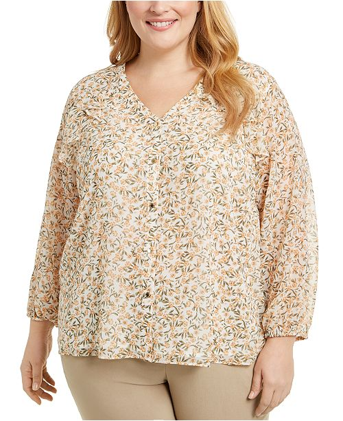 Calvin Klein Plus Size Printed Button-Down Blouse