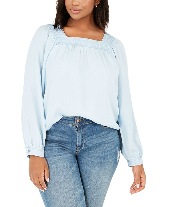 Style & Co Plus Size Square-Neck Top, Created for Macy's