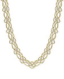"EFFY® Cultured Freshwater Pearl (3-1/2mm) Interlocking Lace 22"" Statement Necklace in 18k Gold-Plated Sterling Silver"