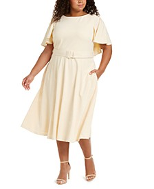Plus Size Caplet Fit & Flare Dress