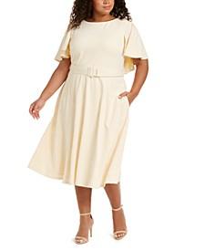 Plus Size Caplet Fit & Flare Dress