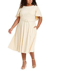 Calvin Klein Plus Size Caplet Fit & Flare Dress