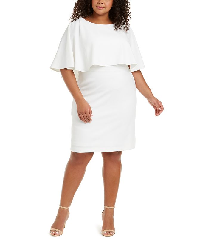 Calvin Klein Plus Size Cape-Overlay Sheath Dress