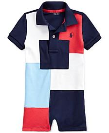 Baby Boys Patchwork Cotton Polo Shortall