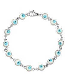 Stainless Steel Blue Colored Enamel Evil Eye Charm Bracelet