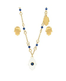 Ladies 18K Micron Gold Plated Stainless Steel Hamsa Design Drop Necklace Set, 2 Piece