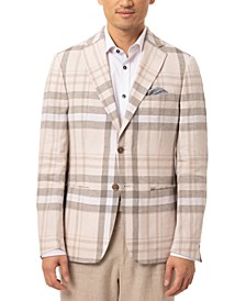 Orange Men's Slim-Fit Oatmeal/Blue Plaid Sport Coat