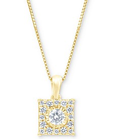 """Diamond Square Halo 18"""" Pendant Necklace (1/3 ct. t.w.) in 14k White, Yellow or Rose Gold"""