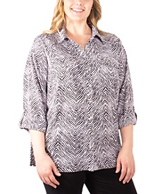 Plus Size Printed Button-Down Utility Shirt