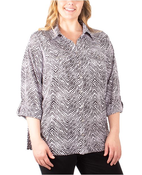NY Collection Plus Size Printed Button-Down Utility Shirt