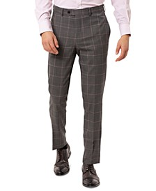Men's Slim-Fit Stretch Gray Windowpane Suit Separate Pants