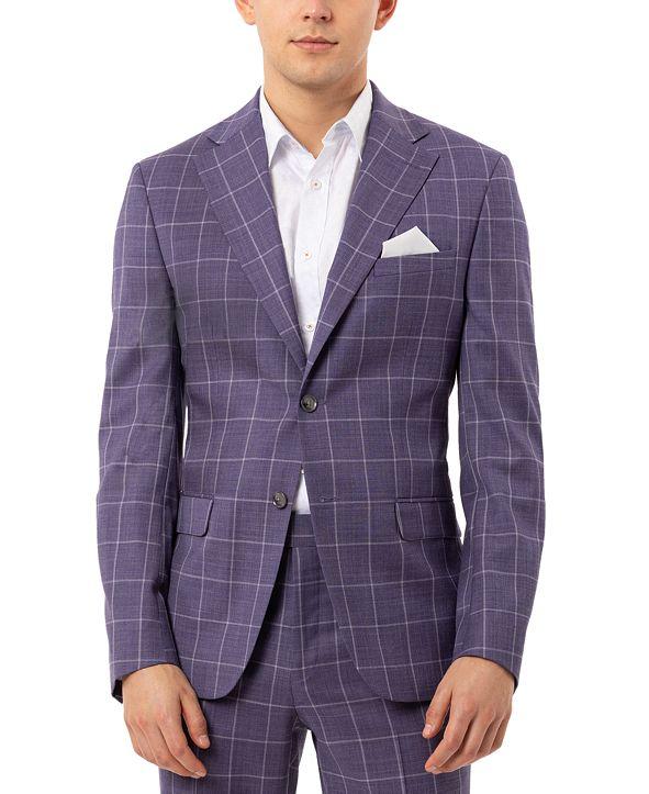 Tallia Men's Slim-Fit Stretch Purple Windowpane Suit Separate Jacket