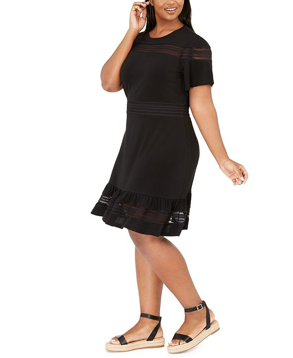 Michael Kors Plus Size Mesh Mix Dress