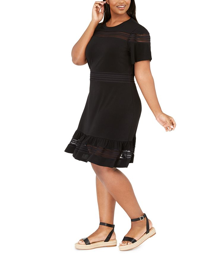Michael Kors - Plus Size Mesh Mix Dress