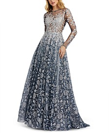 Metallic Floral Illusion Gown