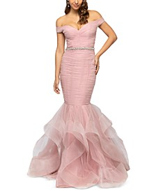 Juniors' Off-The-Shoulder Mermaid Gown
