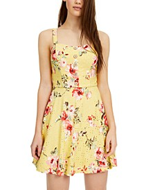 Juniors' Floral-Print Eyelet Skater Dress