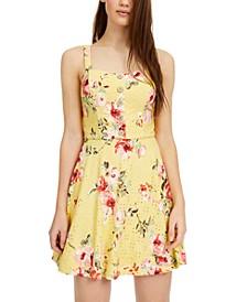Juniors' Floral-Print Eyelet Skater Dress