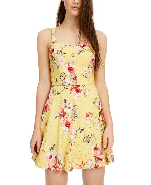 BCX Juniors' Floral-Print Eyelet Skater Dress