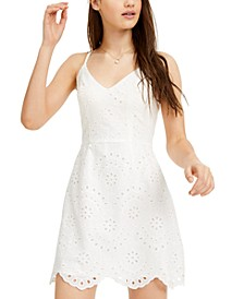 Juniors' Eyelet Fit & Flare Dress