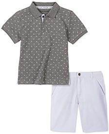 Toddler Boys 2-Pc. Logo-Print Polo Shirt & Twill Shorts Set