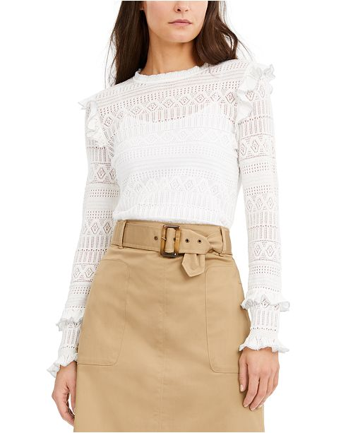INC International Concepts INC Ruffle-Trim Pointelle Sweater, Created for Macy's