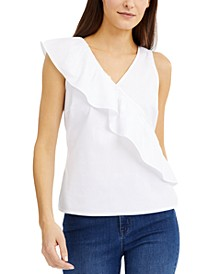 INC Poplin Ruffle Top, Created for Macy's