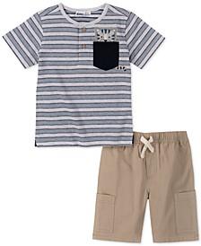 Toddler Boys 2-Pc. Stripe Cat Appliqué Henley & Twill Shorts Set