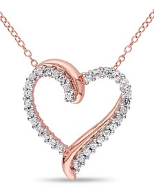 Created White Sapphire (3/4 ct. t.w.) Heart Pendant with Chain in 18k Rose Gold Over Silver
