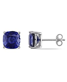 Created Sapphire (6 ct. t.w.) Cushion Stud Earrings in Sterling Silver