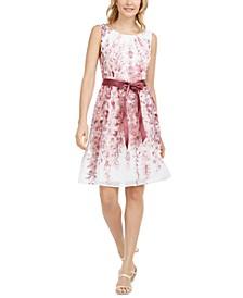 Petite Ribbon-Belt Fit & Flare Dress