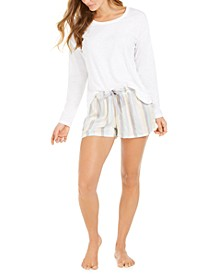 Topstitched Sleep T-Shirt & Striped Sleep Shorts