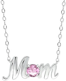 "Cubic Zirconia Mom Nameplate Pendant Necklace in Sterling Silver, 16"" + 2"" extender, Created for Macy's (Also available in Pink or Blue)"