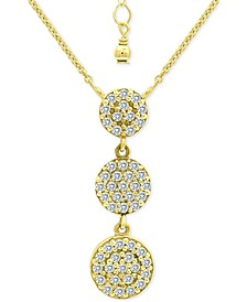 "Cubic Zirconia Pavé Disc Triple Drop Pendant Necklace in 18k Gold-Plated Sterling Silver, 16"" + 2"" extender, Created for Macy's"