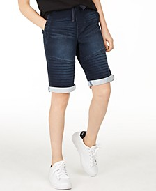 Big Boys Stretch Denim Moto Shorts, Created for Macy's