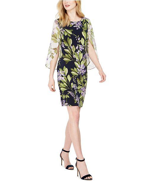 Connected Chiffon-Sleeve Sheath Dress