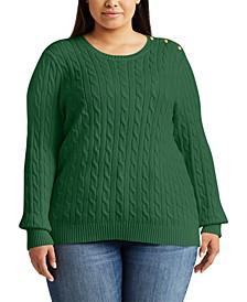 Plus Size Button-Trim Cable Sweater