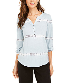 Style & Co Cotton Tie-Dyed Split-Neck Top, Created for Macy's