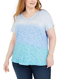Plus Size Brushstroke-Dye T-Shirt, Created for Macy's
