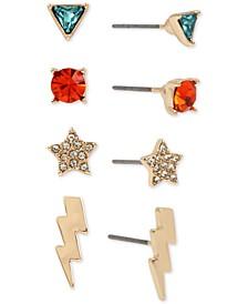 Gold-Tone 4-Pc. Set Crystal Celestial Stud Earrings