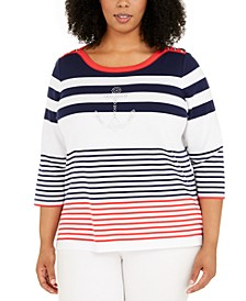 Plus Size Ship Shape Striped Sweater