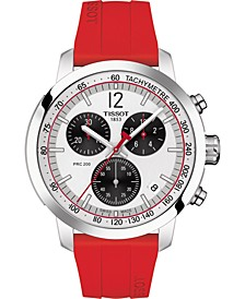 Men's Swiss Chronograph PRC 200 Red Silicone Strap Watch 42mm - Limited Edition, Created for Macy's