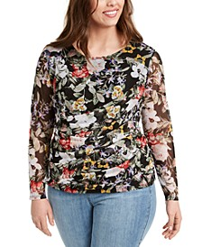 INC Plus Size Draped Mesh Top, Created for Macy's