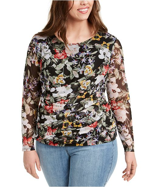 INC International Concepts INC Plus Size Draped Mesh Top, Created for Macy's