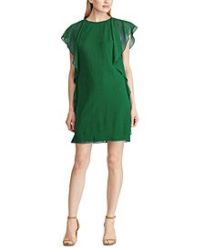 Petite Ruffled Georgette Shift Dress