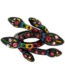 Black-Tone Pavé Multicolor Snake Ring