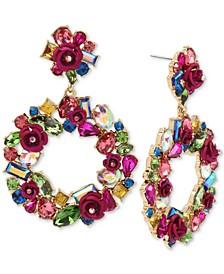 Gold-Tone Multi-Stone & Rose Wreath Drop Hoop Earrings